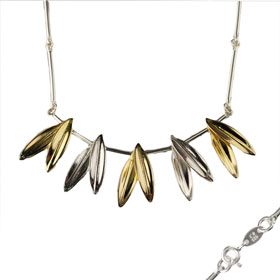 The Elaia Collection - 24k Gold Plated Sterling Silver Necklace - Olive Leaves (65mm)