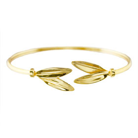 The Elaia Collection - 24k Gold Plated Sterling Silver Bracelet - Olive Leaf Pair