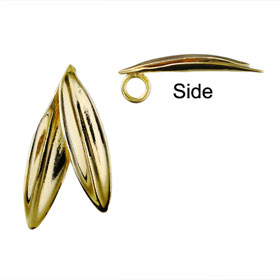 The Elaia Collection - 24k Gold Plated Sterling Silver Pendant - Olive Leaf Pair (20mm)