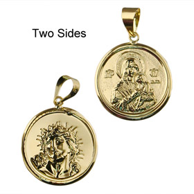 9k Gold Pendant - Christ and Madonna w/ Child (18mm)