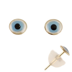 14k Gold Post Earrings w/ Mati Evil Eye (4mm)