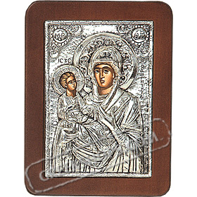 G0203 Orthodox Saint Silver Icon - Panayia ( Virgin Mary ) Odigitria 13x19cm