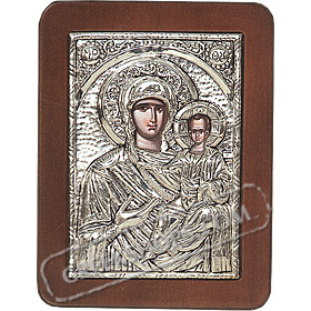 G0204 Orthodox Saint Silver Icon - Panayia ( Virgin Mary ) Odigitria 13x19cm