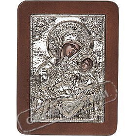 G0205 Orthodox Saint Silver Icon - Panayia ( Virgin Mary ) Megalochari 13x19cm