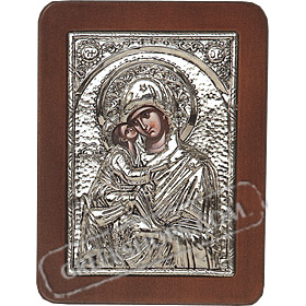 G0206 Orthodox Saint Silver Icon - Panayia ( Virgin Mary ) Glikofilousa 13x19cm