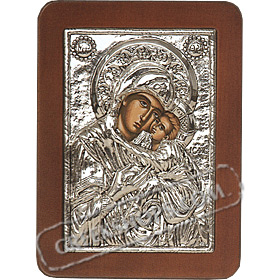 G0207 Orthodox Saint Silver Icon - Panayia ( Virgin Mary ) Glikofilousa 13x19cm