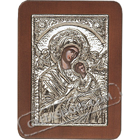 G0209 Orthodox Saint Silver Icon - Panayia ( Virgin Mary ) Amolinto Angels 13x19cm