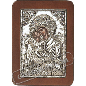 G0210 Orthodox Saint Silver Icon - Panayia ( Virgin Mary ) Axion Esti 13x19cm