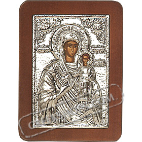 G0211 Orthodox Saint Silver Icon - Panayia ( Virgin Mary ) Amaranto Rodo 13x19cm