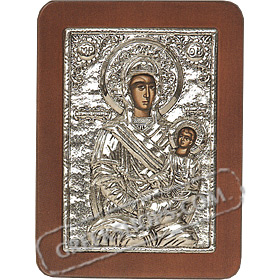 G0212 Orthodox Saint Silver Icon - Panayia ( Virgin Mary ) I Skepi 13x19cm