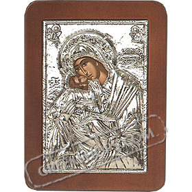 G0215 Orthodox Saint Silver Icon - Panayia ( Virgin Mary ) Glikofilousa Angels 13x19cm