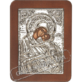 G0216 Orthodox Saint Silver Icon - Panayia ( Virgin Mary ) Glikofilousa 13x19cm