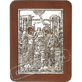 G0217 Orthodox Saint Silver Icon - Evagelismos ( Annunciation ) 13x19cm