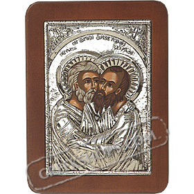 G0250 Orthodox Saint Silver Icon - Agios Petros & Pavlos ( Saints Peter & Paul ) 13x19cm