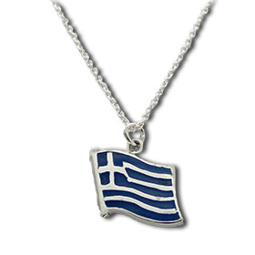 "Sterling Silver Greek Flag Pendant w/ 18"" Chain"