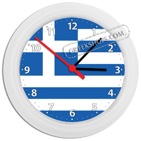Greek Time - Greek Flag Wall Clock