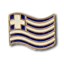 Waving Greek Flag Sterling Silver Lapel Pin 16mm