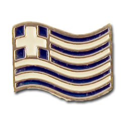 Waving Greek Flag Sterling Silver Lapel Pin 20mm