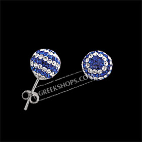 The Rio Collection - Swarovski Crystal Ball Post Earrings Greek Flag (10mm)