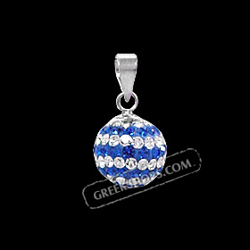 The Rio Collection - Swarovski Crystal Ball Pendant Greek Flag (10mm)