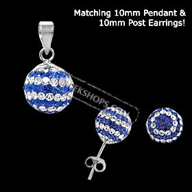 The Rio Collection - Swarovski Crystal Ball Pendant and Post Earrings Greek Flag