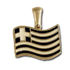 Sterling Silver Waving Greek Flag Pendant w/ black leather cord
