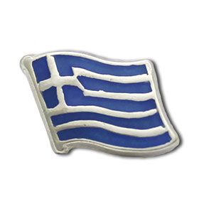 Sterling Silver Waving Greek Flag Lapel Pin 17mm x 13mm