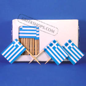 Greek Flag Party Toothpicks 100 pc.
