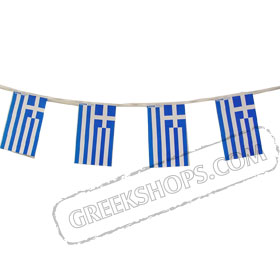 Greek Flag String 16ft long - Paper