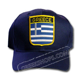 Greek Flag Golf Cap Embroidered Shield Navy Blue