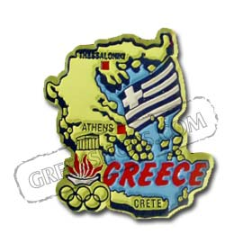 Vintage Map of Greece Magnet 2in x 2in