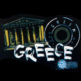 Greece Destination Composition, Unisex Navy Blue Tshirt Style D1139