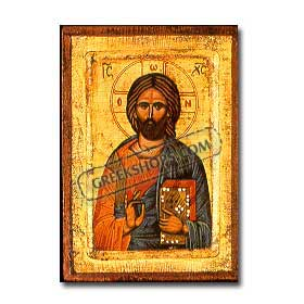 Christos - Jesus Handpainted Pantocrator Icon 9 in by 7 in.