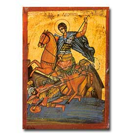 St. Demetrios (Agios Dimitrios) Handpainted Greek Orthodox Icon 14 x 20cm