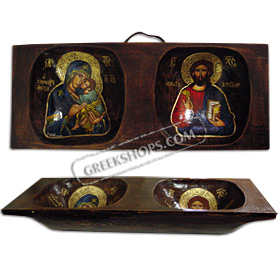 Virgin Mary & Jesus Christ Hand Painted on an Antique Double Wooden Bread Bowl