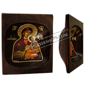 Virgin Mary Hand Painted on an Antique Single Wooden Bread Bowl