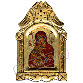 XSK1 Panayia Theotokos (Virgin Mary Mother of God ) Wooden Icon with Decorative Carvings 16x25cm