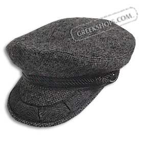 Wool Tweed Greek Fisherman's Hat - Black