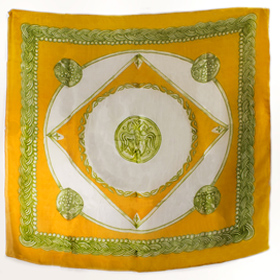 Authentic Greek Silk Shawl / Scarf w/ Byzantine Shield Motif - Gold and Green Tones