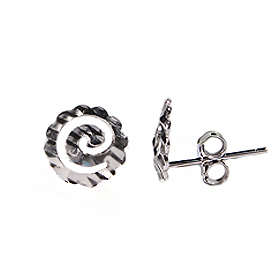 Platinum Plated Sterling Silver Swirl Post Earrings 10mm