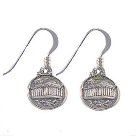 Sterling Silver Parthenon Round Earrings (12mm) w/ French Hooks