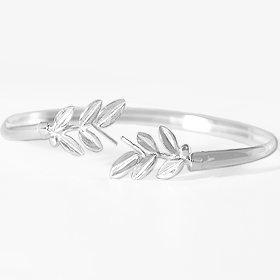 Niki Collection :: Victory Laurel Sterling Silver Cuff Bracelet 7.5 inch