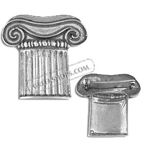 Sterling Silver Brooch - Ionic Column Capital (37mm)