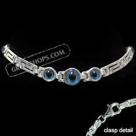 Greek Sterling Silver Mati Collection - Bracelet w/ Greek Key and 3 Central Mati Evil Eye (6mm)