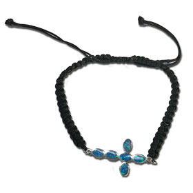 Black Komboskini Macrame Adjustable Bracelet with Sterling Silver & Opal Cross (26mm)