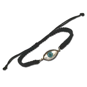 "Black Komboskini Macrame Adjustable Bracelet with Sterling Silver Mother of Pearl ""Mati"" Evil Eye (2"