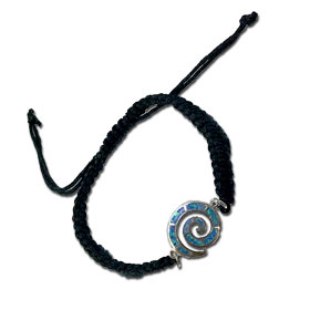 "Black Komboskini Macrame Adjustable Bracelet with Sterling Silver and Opal Swirl ""Spira"" Motif (14mm"