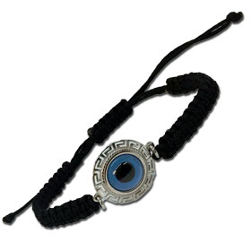 "Black Komboskini Macrame Adjustable Bracelet with Sterling Silver Round ""Mati"" Evil Eye w/ Greek Key"