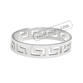 Sterling Silver Ring - Greek Key Band 4mm