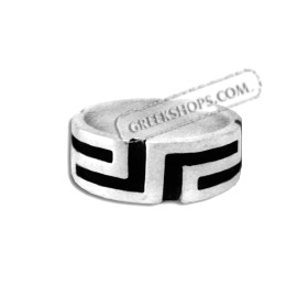 Sterling Silver Ring - Greek Key w/ Black Enamel Detail